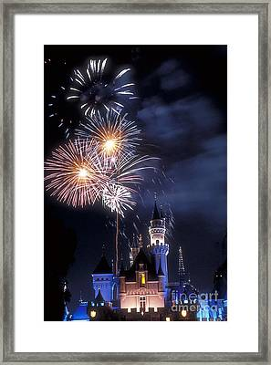 Cinderella Castle Fireworks Iconic Fairy-tale Fortress Fantasyland Framed Print