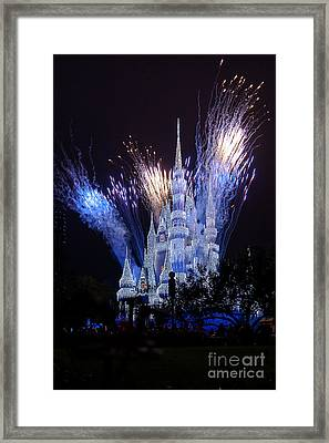 Magic Kingdom Castle Frozen Blue Framed Print