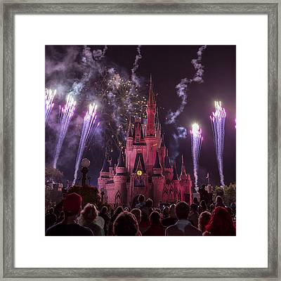 Cinderella's Castle With Fireworks Framed Print by Adam Romanowicz