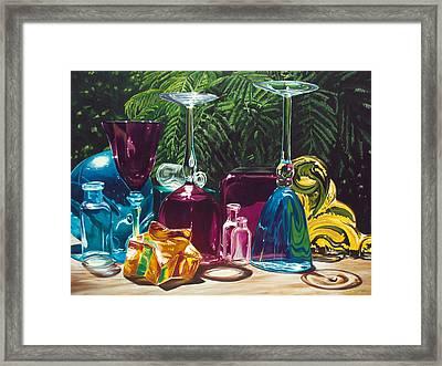 Cindy's Wine Glasses Framed Print by Lisa Frick