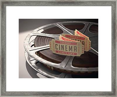 Cinema Tickets And Movie Reel Framed Print