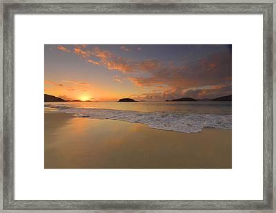 Cinnamon Bay Sunset Reflections Framed Print by Stephen  Vecchiotti