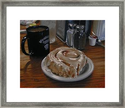 Cinnamon Roll At Wesners Cafe Framed Print by Timothy Jones