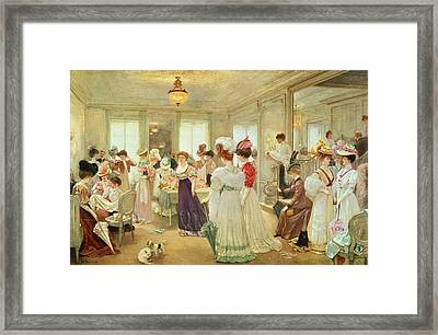 Cinq Heures Chez Le Couturier Paquin, 1906 Framed Print by Henri Gervex