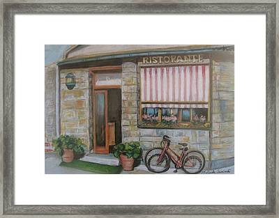 Cinque Terra Cafe With Bicycle Framed Print by Melinda Saminski
