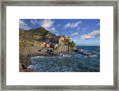 Cinque Terra Images -manarola On A Sunny Afternoon Framed Print