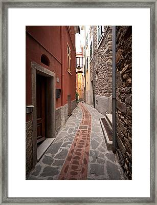 Cinque Terre Alleyway Framed Print by Mike Reid