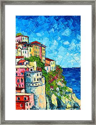 Cinque Terre Italy Manarola Painting Detail 3 Framed Print by Ana Maria Edulescu