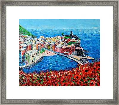 Cinque Terre Vernazza Poppies Framed Print by Ana Maria Edulescu