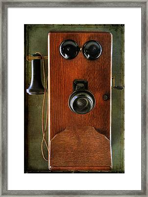 Circa 1920's Antique Wall Phone Framed Print by Donna Kennedy