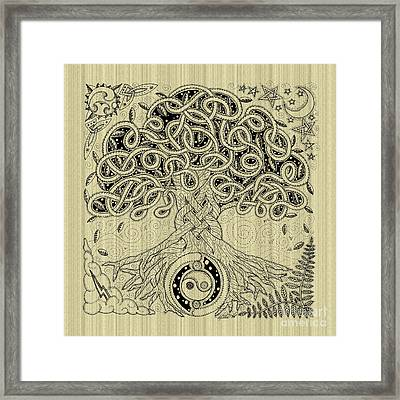 Circle Celtic Tree Of Life Inked Framed Print