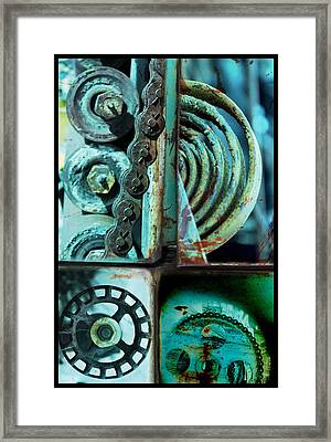 Circle Collage In Blue Framed Print