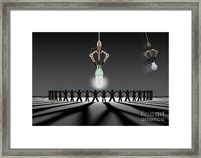 Circle Cut Out With Bulbs Framed Print by Mike Agliolo