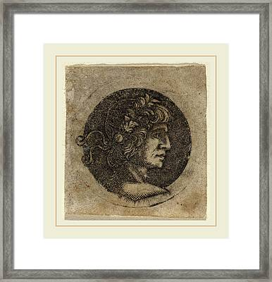 Circle Of Francesco Francia, Head Of A Roman Emperor Framed Print by Litz Collection