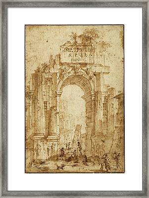 Circle Of Giovanni Paolo Panini, Arch Of Titus Framed Print by Quint Lox