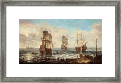 Framed Print featuring the painting Circle Of Sailing Ships by Jacob Adriaensz Bellevois