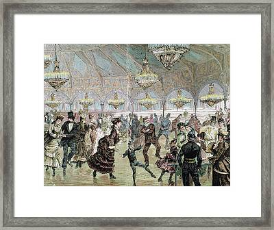 Circle Of Skaters (skating-rink Framed Print by Prisma Archivo