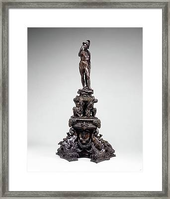 Circle Of Tiziano Aspetti, Andiron With Figure Of Mars Framed Print by Litz Collection