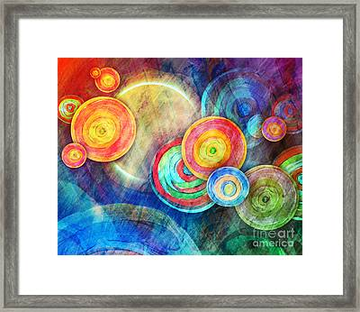 Circle Shape Art In Sun Landscape Framed Print by Angela Waye