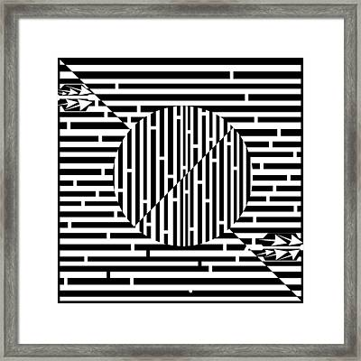 Circles And Diagonal Lines Maze Framed Print