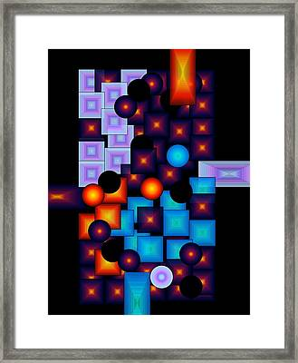 Framed Print featuring the digital art Circles Vs.squares by Gayle Price Thomas