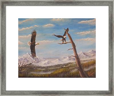 Framed Print featuring the painting Circling Eagle by Dan Wagner