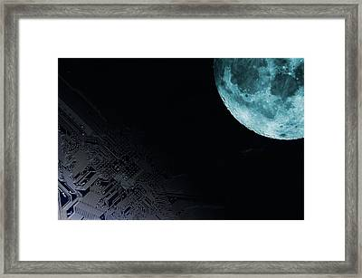 Circuit Board And Moon Framed Print by Christian Lagerek/science Photo Library