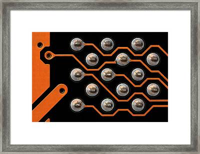 Circuit Board Tin Contacts Framed Print