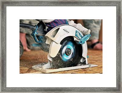 Circular Saw Cutting Board Framed Print by Us Air Force/bill Evans