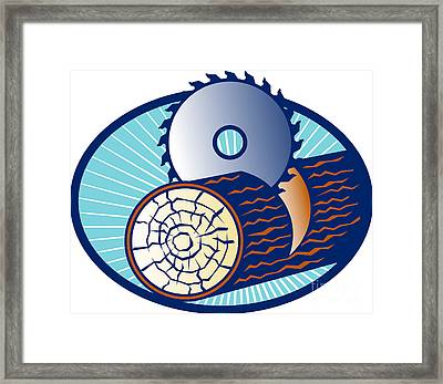 Circular Saw Cutting Log Wood Retro Framed Print by Aloysius Patrimonio