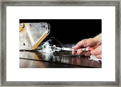 Circular Saw Guard Safety Test Framed Print by Crown Copyright/health & Safety Laboratory Science Photo Library