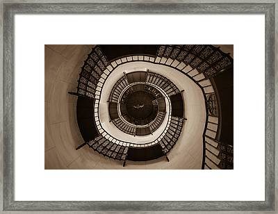Circular Staircase In The Granitz Hunting Lodge Framed Print by Andreas Levi