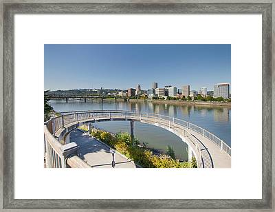 Framed Print featuring the photograph Circular Walkway On Portland Eastbank Esplanade by JPLDesigns