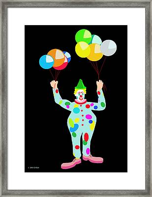 Circus Clown With Balloons Framed Print