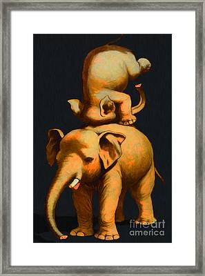 Circus Elephants - 2012-1230 - Painterly Framed Print by Wingsdomain Art and Photography