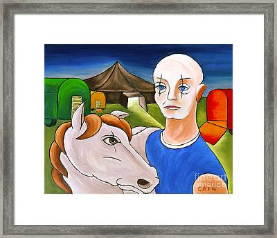 Circus Man And Horse Framed Print by William Cain