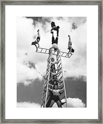 Circus Performers Practice Framed Print by Underwood Archives