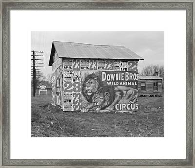 Circus Posters Covering A Building Near Lynchburg Framed Print by Historic Photos