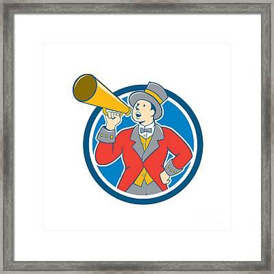 Circus Ringmaster Bullhorn Circle Cartoon Framed Print