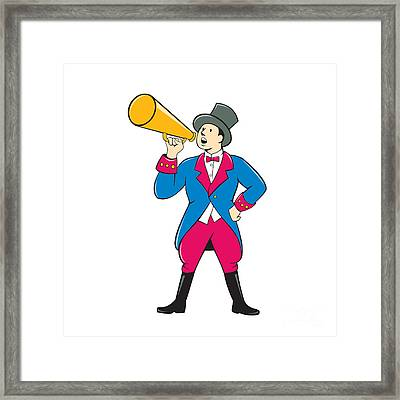 Circus Ringmaster Bullhorn Standing Cartoon Framed Print