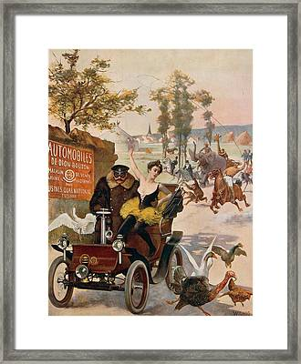 Circus Star Kidnapped Wilhio S Poster For De Dion Bouton Cars Framed Print