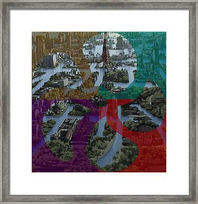 Citi Scape Photo Improvisations Background Designs  And Color Tones N Color Shades Available For Dow Framed Print