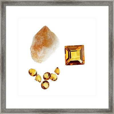 Citrine Gemstones And Crystal Framed Print