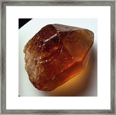 Citrine (quartz) Crystal Framed Print by Dorling Kindersley/uig