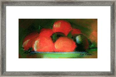 Framed Print featuring the painting Citrus In Pottery Bowl by Lisa Kaiser