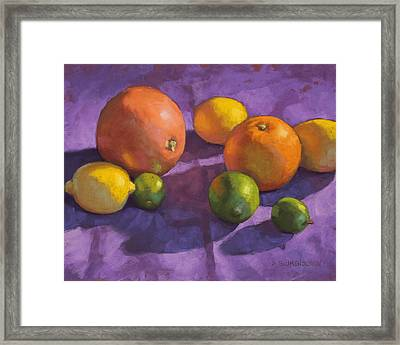 Citrus On Purple Framed Print by Sarah Blumenschein