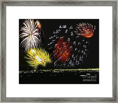 City All Liteup Framed Print by Belinda Threeths