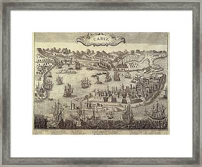 City And Harbour Of Cadiz. Engraving Framed Print by Everett