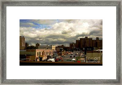 City And Sky Framed Print by Miriam Danar