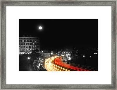 City And The Moon Framed Print by Taylan Apukovska
